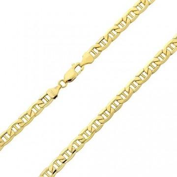 18 Karat / 750 Gold Italienisch Flach Mariner Gelbgold Kette Unisex - Breite 3 mm - Länge wählbar (60) - 1