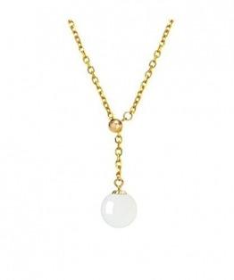 DX.GD@ 9-10MM Natürlich Nephrit Bead Anhänger Mit 18 Karat Goldkette Halskette Perfekt Jahrestag Hochzeit Engagement Geschenk Für Frau Mama Tochter,Weiß - 1