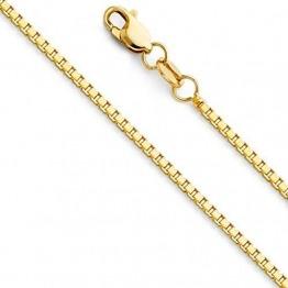 Massive 18 Karat / 750 Gold Venezianer Box Kette Gelbgold -1 mm Breit - Verschiedene Längen (45) - 1