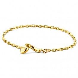 Orovi Armband - Armreif Damen Gelbgold 14 Karat / 585 Gold Kette mit Herz 19 cm - 1