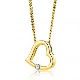 Orovi Halskette Damen Herz Kette mit Diamant Gelbgold 18 Karat / 750 Gold Brilliant 0,01 ct - 1