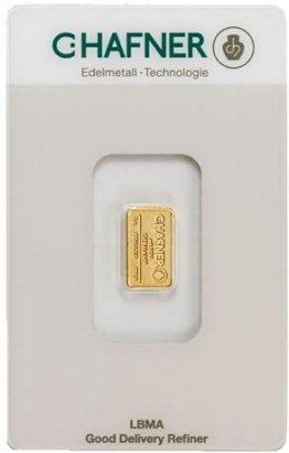 1 Gramm Gold 1 gr Goldbarren Barren Feingold 999,9 C. Hafner - 1
