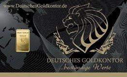 1,0 Gramm Gold Goldbarren Barren Bullion / 999,9 Feingold Barren-Karte - 1
