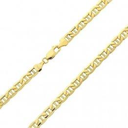 14 Karat 585 Gold Italienisch Flach Mariner Kette Gelbgold - Breite 3.10 mm - Länge wählbar (45) - 1