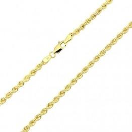 14 Karat / 585 Gold Kordelkette Gelbgold Unisex Kette - 3 mm. Breit - Länge wählbar (55) - 1