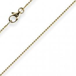 1mm Kette Goldkette Halskette Kugelkette aus 585 Gold Gelbgold 42cm Damen - 1
