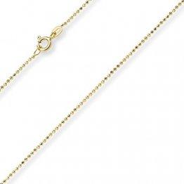 1mm Kugelkette diamantiert Kette Goldkette Halskette aus 585 Gold Gelbgold, 55cm - 1