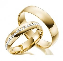 2 Handmade Ringe Trauringe aus 333 / 585 Echt Gold - Eheringe Verlobungsringe Gold mit Zirkonia Stein inklusive Luxus-Etui mit personalisierten Namen - Gelbgold Damen Paar Ehe-ringe mit Gravur angenehm und Allergiefrei - 1