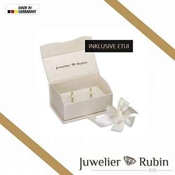 2 x 585 Trauringe Gold Bicolor Weißgold Eheringe Massiv Paarpreis LM.10 Weißgold Trauringe Paarpreis vom Juwelier Echtes Gold Verlobunsringe Wedding Rings Trouwringen (9 Karat (375) Bicolor) - 3
