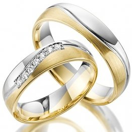 2 x 585 Trauringe Gold Bicolor Weißgold Eheringe Massiv Paarpreis LM.10 Weißgold Trauringe Paarpreis vom Juwelier Echtes Gold Verlobunsringe Wedding Rings Trouwringen (9 Karat (375) Bicolor) - 1