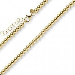 4mm Kugel-Kette Collier Halskette Halsschmuck aus 585 Gold Gelbgold, 45cm - 1