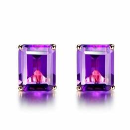 Aimsie Damen Ohrringe, Quadrat Einfach Ohrringe Gold Clips 18 Karat (750) Rotgold Amethyst Ohrring Gold 750 Ohrringe Damen Rosegold Rose Gold - 1