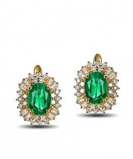 Aimsie Damen Ohrstecker 18 Karat 750 Gold Oval 1,35ct Smaragd Ohrringe 0,66ct Diamant Ohrschmuck für Frauen - 1