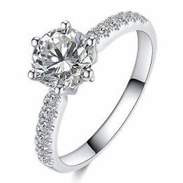 Aimsie Damen Ring, Klassischer Ehering Ring Damen Gold 18 Karat (750) Weißgold Moissanit Damen Ringe Weissgold Goldring 750 Echtgold Weiß Gold 65 (20.7) - 1