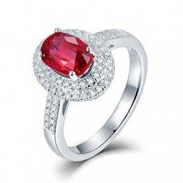 Aimsie Gold Ring, 1,2 Ct Oval Geschnittener Rubin Gold Ring 18 Karat 750 Herren Ehering Herren Weissgold 18 K Au750 Weißgold Trauringe Hochzeitring Weiß Gold 50 (15.9) - 1