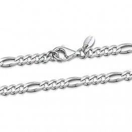 Amberta 925 Sterling Silber Halskette für Herren - Rhodiniert - Flache Figarokette3.9 mm – 70 cm - 1