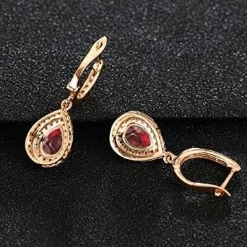 ANAZOZ Echtschmuck 18 Karat 750 Rosegold Damen Ohrringe 2CT Wassertropfen Tropfen Ohrringe Rosegold Schmuck - 2