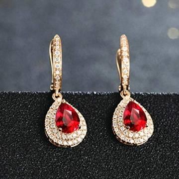 ANAZOZ Echtschmuck 18 Karat 750 Rosegold Damen Ohrringe 2CT Wassertropfen Tropfen Ohrringe Rosegold Schmuck - 3