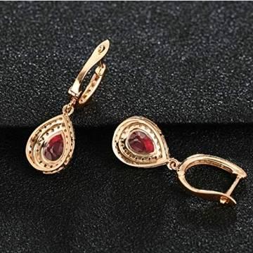 ANAZOZ Echtschmuck 18 Karat 750 Rosegold Damen Ohrringe 2CT Wassertropfen Tropfen Ohrringe Rosegold Schmuck - 4