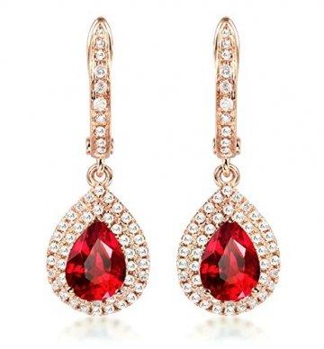 ANAZOZ Echtschmuck 18 Karat 750 Rosegold Damen Ohrringe 2CT Wassertropfen Tropfen Ohrringe Rosegold Schmuck - 1