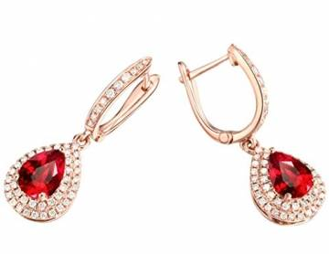 ANAZOZ Echtschmuck 18 Karat 750 Rosegold Damen Ohrringe 2CT Wassertropfen Tropfen Ohrringe Rosegold Schmuck - 5