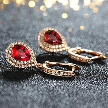 ANAZOZ Echtschmuck 18 Karat 750 Rosegold Damen Ohrringe 2CT Wassertropfen Tropfen Ohrringe Rosegold Schmuck - 6