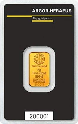 Argor-Heraeus 5g Goldbarren 999.9 Blister - 1