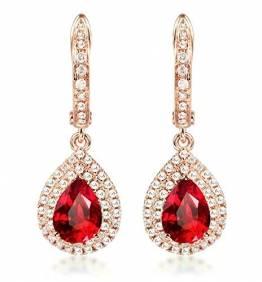 Beglie 18 Karat Damen Ohrringe Wassertropfen Tropfen Ohrringe 2Ct 750 Rosegold Echtschmuck Ohrschmuck Creolen Rosegold - 1