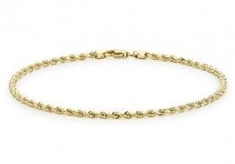 Carissima Gold Unisex Hollow Diamantschliff Rope Fußkette 9k(375) Gelbgold 2mm 25.5cm/10zoll - 1