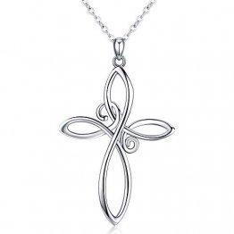 CHENGHONG Keltisches Kreuz Kette,Sterling Silber Unendlichkeit Kreuz Anhänger Halskette, Keltischer Knoten Damen Kette Schmuck Halskette Geschenke für Frauen - 1