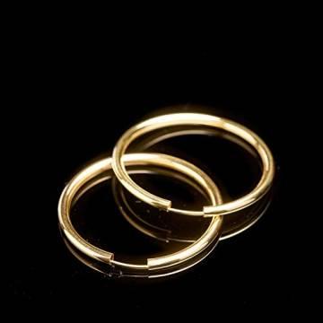 Creolen Echt Gold 40 mm 750 aus Gelbgold, Damen Ohrringe Gold mit Stempel, Breite 2,5 mm, Gewicht ca. 2.9 g, Made in Germany - 3