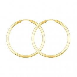 Creolen Echt Gold 40 mm 750 aus Gelbgold, Damen Ohrringe Gold mit Stempel, Breite 2,5 mm, Gewicht ca. 2.9 g, Made in Germany - 1