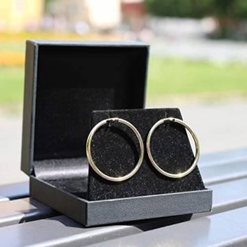 Creolen Echt Gold 40 mm 750 aus Gelbgold, Damen Ohrringe Gold mit Stempel, Breite 2,5 mm, Gewicht ca. 2.9 g, Made in Germany - 6