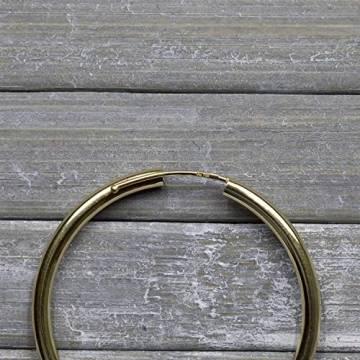 Creolen Echt Gold 40 mm 750 aus Gelbgold, Damen Ohrringe Gold mit Stempel, Breite 2,5 mm, Gewicht ca. 2.9 g, Made in Germany - 8