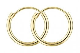 Creolen Gold Klein 13 mm 333 aus Gelbgold, Damen Goldohrringe Echt Gold mit Stempel, Breite 1,3 mm, Gewicht ca. 0.3 g, Made in Germany - 1
