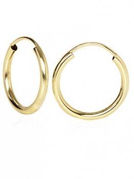 Creolen Ohrringe Gelbgold 333 Gold (8 Karat) Ø 15mm Goldcreolen Goldohrringe Damenohrringe Ohrschmuck Leyla C-04113-G301-15mm/2mm - 1
