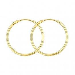 Damen Creolen Echt Gold 25 mm 750 aus Gelbgold, Ohrringe Gold mit Stempel, Breite 1,5 mm, Gewicht ca. 1 g, Made in Germany - 1