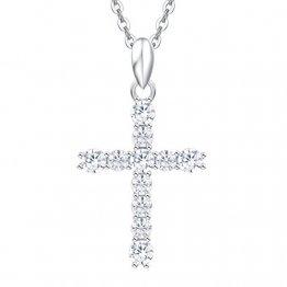 Damen Halskette mit Kreuz Christian Anhänger aus 925 Sterling Silber mit Zirconia - Verstellbar Kettenlänge: 40 + 5 cm - 1
