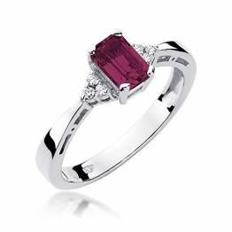 Damen Ring 585 14k Gold Weißgold echt Rubin Edelstein Diamanten Brillanten - 1