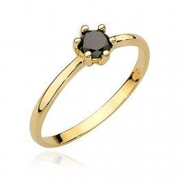 Damen Versprechen Ring Verlobungsring Antragsring 585 14k Gold Gelbgold natürlicher echt Schwarze Diamant Brillanten - 1