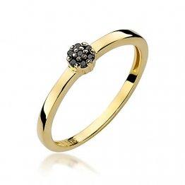 Damen Versprechen Ring Verlobungsring Antragsring 585 14k Gold Gelbgold natürlicher echt Schwarze Diamanten Brillanten - 1