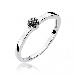 Damen Versprechen Ring Verlobungsring Antragsring 585 14k Gold Weißgold natürlicher echt Schwarze Diamanten Brillanten - 1