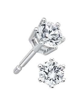 Diamant Ohrstecker 0,50 ct Lupenrein 585 14 Kt Weißgold Klassische 6er Krappen Fassung Brillant Schliff - 1