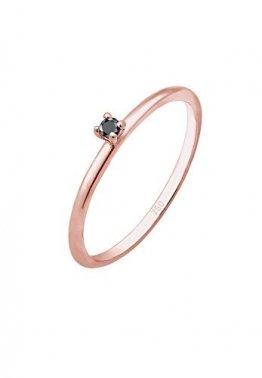 DIAMORE Ring Damen Solitär Schwarzer mit Diamant (0.02 ct) in 750 Roségold - 1