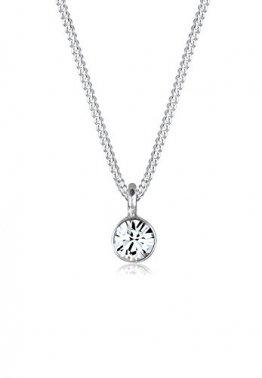 Elli Halskette Damen Basic Solitär mit Swarovski® Kristall in 925 Sterling Silber - 1