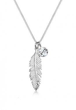 Elli Halskette Damen Feder Boho Anhänger mit Swarovski® Kristall in 925 Sterling Silber - 1