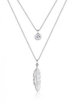Elli Halskette Damen Feder Boho Swarovski Kristalle in 925 Sterling Silber - 1