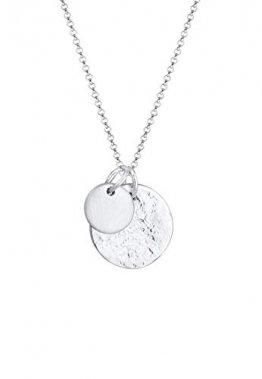 Elli Halskette Damen Plättchen Gehämmert Organic Look Minimal aus 925 Sterling Silber vergoldet - 1