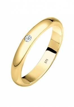 Elli PREMIUM Ring Damen Ehering Solitär mit Diamant (0.03 ct.) in 375 Gelbgold - 1