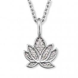 Engelsrufer - Damen Halskette aus 925 Sterlingsilber mit Lotusblüte Anhänger & Zirkonia Edelsteinen, Frauen Silberkette mit Lotus Blüten Kettenanhänger & Steinen - 1